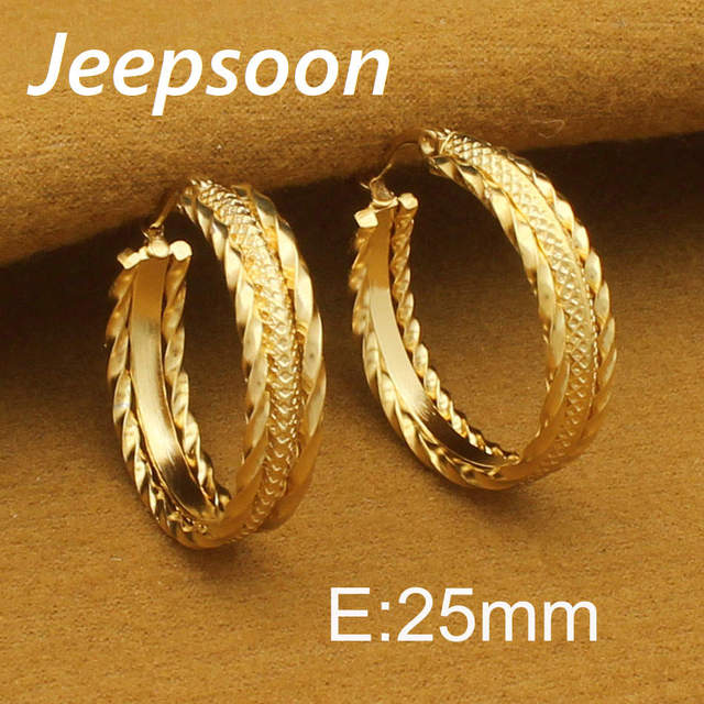 Fashion Stainless Steel Jewelry Round Twisted Texture Gold Earrings For Woman S Man Jeepsoon