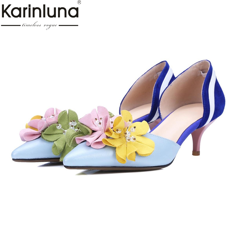 Karinluna Sexy Genuine Leather Cow Leather Cow Suede Woman Shoes Party Pointed Toe Flower Thin Heels
