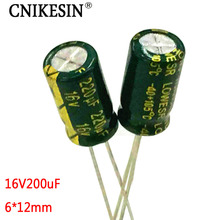 CNIKESIN 100pcs 16V220UF high frequency low resistance long life genuine plug-in electrolytic capacitor 220UF 16V 6X12mm