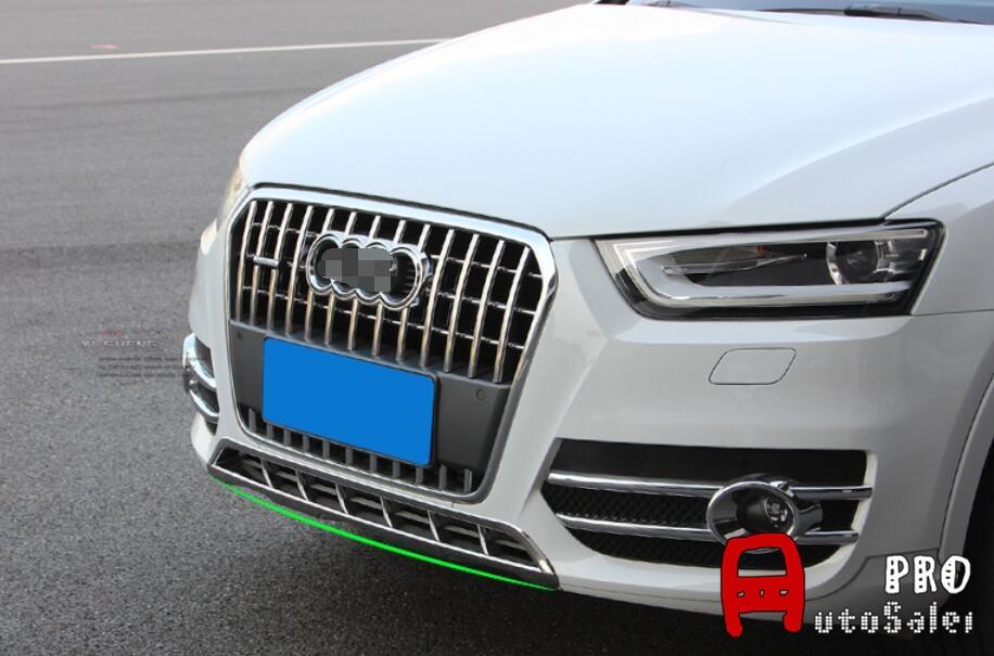 ABS Plastic Chrome Front Bottom Grill Grid Bumper upper cover trim 1pcs For Audi Q3 2012 2013 2014 2015 fog light grill for audi a4 s line s4 2013 2014 2015 front bumper grille foglamp cover left