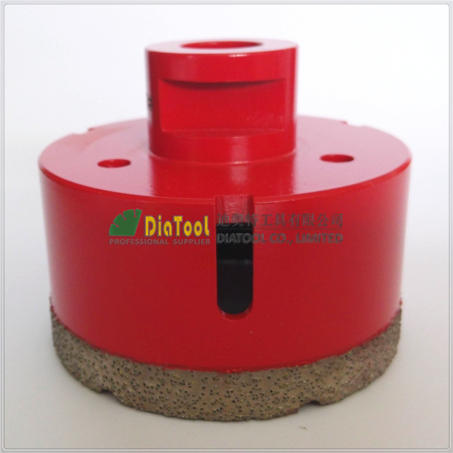 ФОТО Dia75mm  Red color Vacuum brazed diamond core bits with M14 connection, 10mm segment height drilling bits