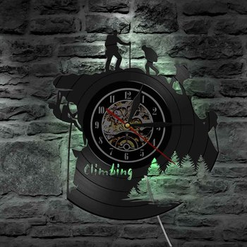 1Piece Hiking Mountain Climbing LED Lamp Vinyl Record Wall Clock Adventure Extreme Sport Modern Lamp For Climbing Lover Gift фото