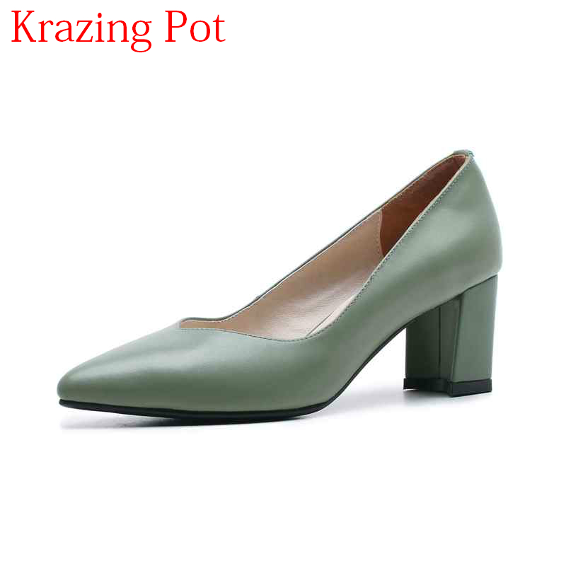 2018 New Office Lady Elegant Genuine Leather Pointed Toe Shallow High Heels Slip on Handmade Wedding Comfortable Women Pumps L12 new arrival genuine leather pointed toe high heels stiletto shallow metal buckle pumps slip on women brand wedding shoes l8f3