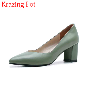 2018 New Office Lady Elegant Genuine Leather Pointed Toe Shallow High Heels Slip on Handmade Wedding Comfortable Women Pumps L12