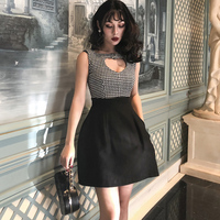 le palais vintage 2019 Spring Color Block Wool Blend Dress Black White Plaid Heart Hollow Out Hepburn Dress Slim High Rise