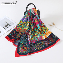 Luxury Brand 100% Twill Silk Scarf Square Scarf Bandana New Design Floral Print Kerchief Women Scarves Shawls Wraps Echarpe недорого