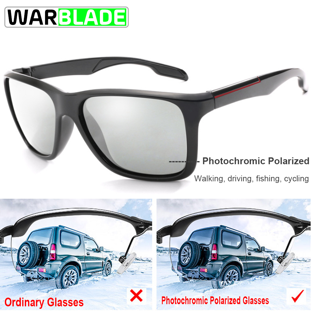 8c7d02e548 WarBLade Photochromic Sunglasses Men Polarized Chameleon Sun Glasses  Cycling Biking Square Driving Accessories lentes ciclismo-in Cycling Eyewear  from ...