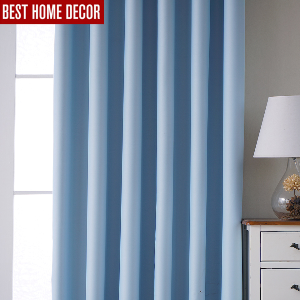 Modern blackout curtains for living room bedroom curtains for window treatment drapes blue finished blackout curtains 1 panel in Curtains from Home Garden