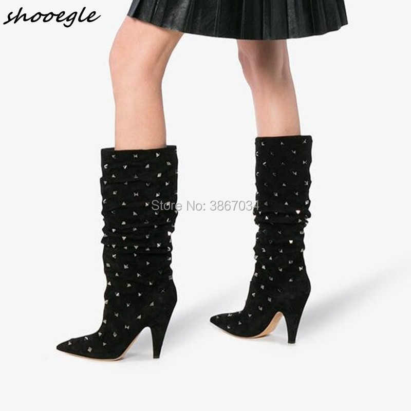 SHOOEGLE Stylish Fashion Women Rivets Studs Knee High Boots Pointed Toe  Spike Heels Pleated Leather Shoes fb6a436a1dec