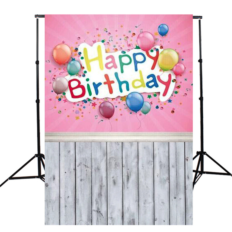5X10FT Birthday Party Pink Balloon Theme Photography Background For Studio Photo Props Thin vinyl Photographic Backdrops 150x90cm pink valentine s day vinyl studio backdrop love theme photography background cloth photo props wedding party favor