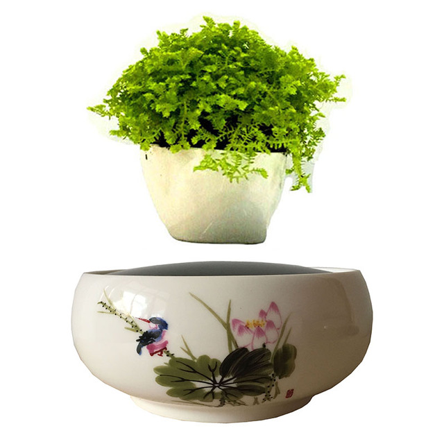 2018 An Magnetic Levitation Floating Bonsai Ceramics Glaze Pot For Plants Garden Gifts Men Free