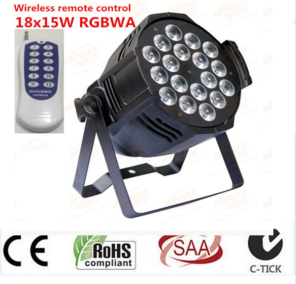 Wireless remote control 18x15W RGBWA 5in1 LED Par Can Par64 led spotlight dj projector wash lighting stage light DMX light