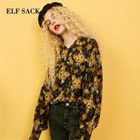 ELF SACK New Full Woman Shirt Turn down Collar Chiffon Woman Blouse Casual Cat Print Femme Blouse Korean Loose Female Shirts Top