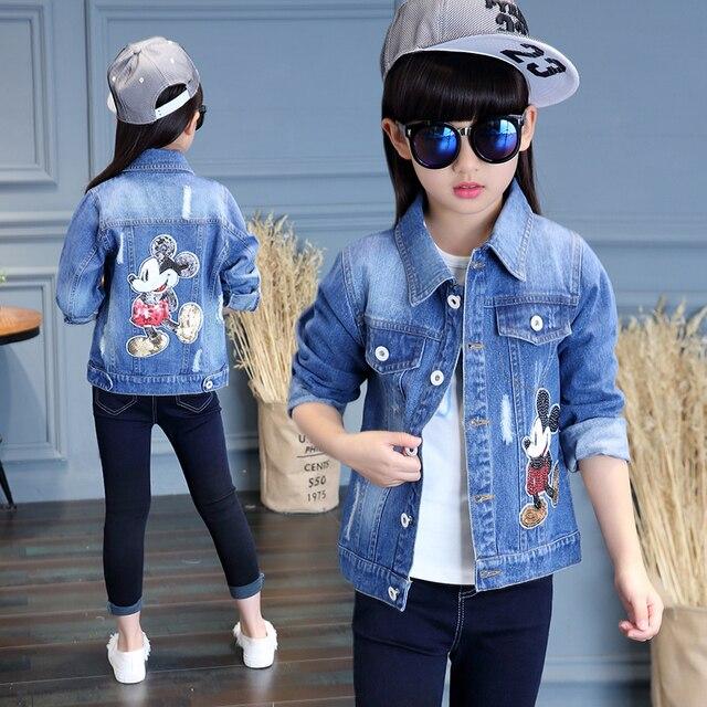 2017 Spring New Item Baby Girls Fashion Denim Jacket Girls Short-style Bow-print Denim Outerwear Jacket Child Denim Coat