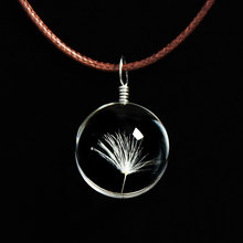 1Pcs Crafts Real Dandelion Jewelry Glass Ball Dandelion Necklace Long Strip Leather Chain Pendant For Women