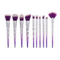 RORASA Purple Make Up Brushes 10pcs Blue Travel Make Up Brushes Set Professional Luxury Makeup Brushes
