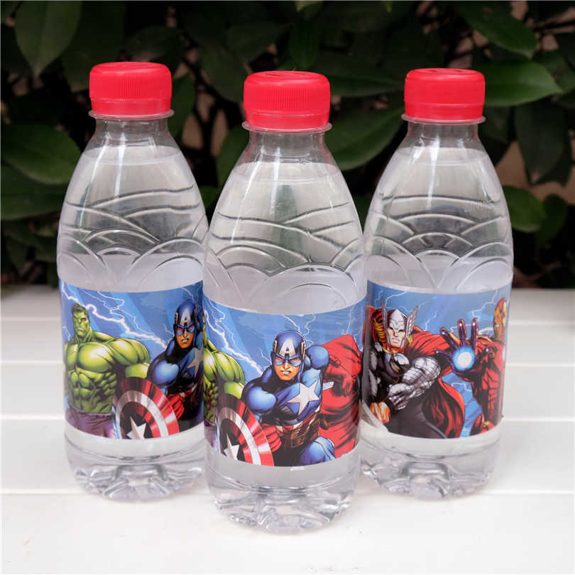 12 pcs Ironman Hulk Captain America Avengers label botol air candy bar dekorasi ulang tahun anak-anak perlengkapan pesta baby shower