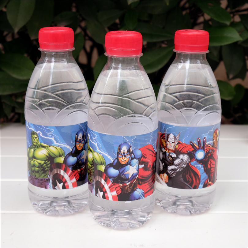 12pcs Captain America Ironman Hulk Avengers water bottle label candy bar decoration kids birthday party supplies baby shower