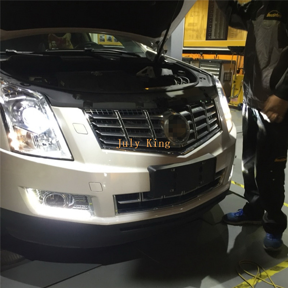 July King LED Daytime Running Lights Case For Cadillac SRX 2010~ON, LED DRL With Electroplate Fog Lamp Cover, 1:1 Replacement