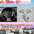 Высокое Качество SUZUK1 Vitara 2016 3 шт. детектор автомобиль палку стиль крышка ABS Chrome руль Комплект Интерьера Отделка лампы кадр