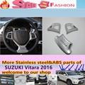 SUZUK1 Vitara 2016 3 pcs de alta Qualidade detector carro styling vara tampa ABS Chrome volante Interior Kit Guarnição lâmpada quadro