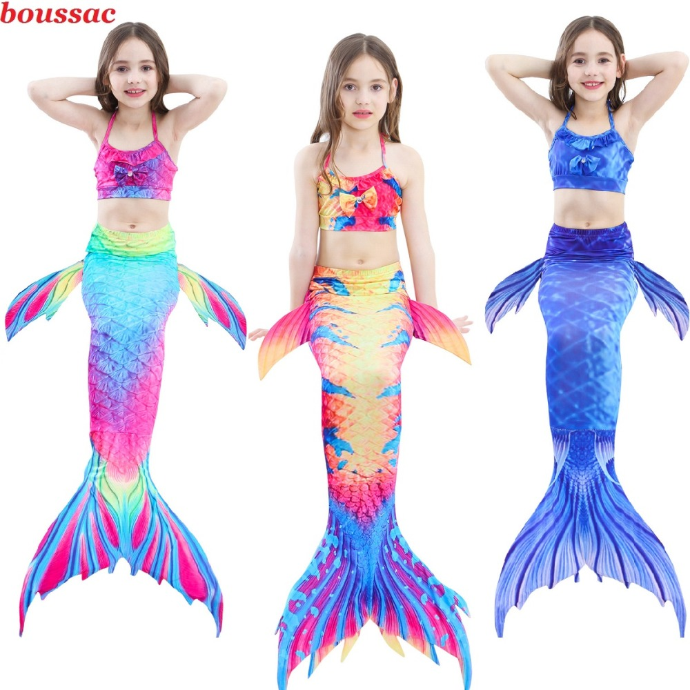 3-14Y Hot Children Mermaid Tails Swimsuit With Monofin Fin Girls Kids Swimsuit Ariel Kids Swimmable Mermaid Tail Cosplay Costume