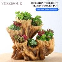 Chinese Resin Tree Root Flower Pot Creative Indoor Pots for Succulents Maceta Colgante Bonsai Pot Office Decoration Plant Pots