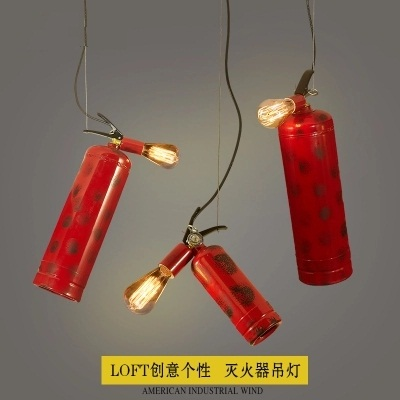 купить Loft Style Iron Fire Extinguisher Pendant Light Fixtures Industrial Vintage Lighting Dining Room Hanging Lamp Edison Droplight недорого