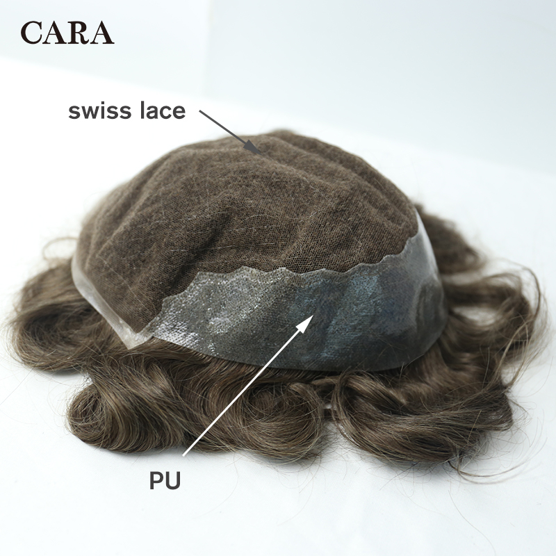 10x8 Men Hair Toupee Swiss Lace Front Center Poly Perimeter Hair Replacement System Lace & PU Toupee Brazilian Remy Human Hair