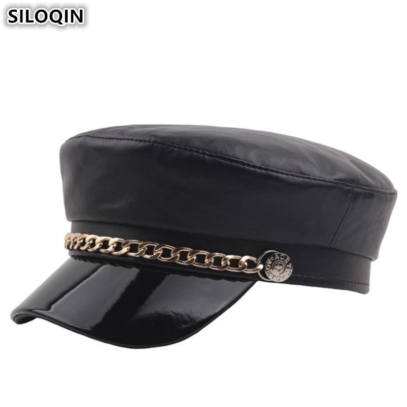 5c6f8a687cdc SILOQIN/элегантная женская кепка на плоской подошве, армейские военные  шапки из искусственной кожи для
