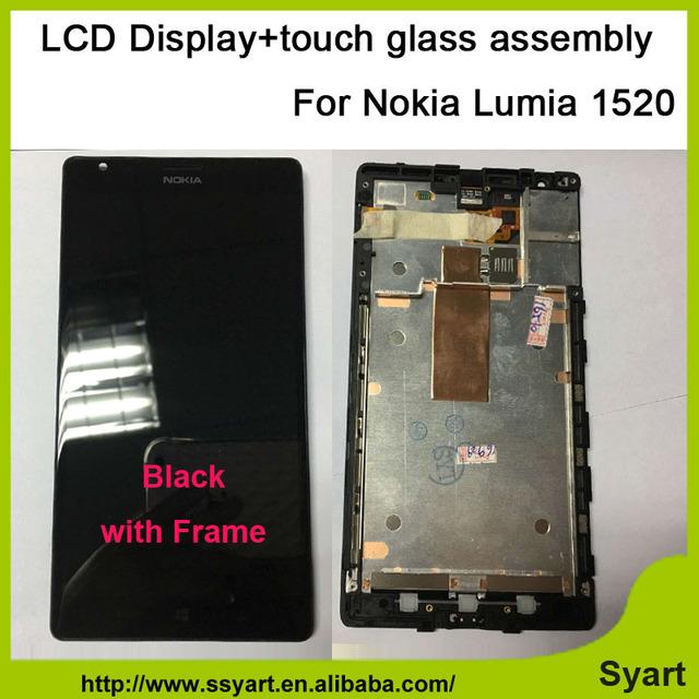 Testado telefone celular digitador da tela de toque lcd de substituição com moldura do quadro 1520 lcd display lcd pantalla para nokia lumia 1520