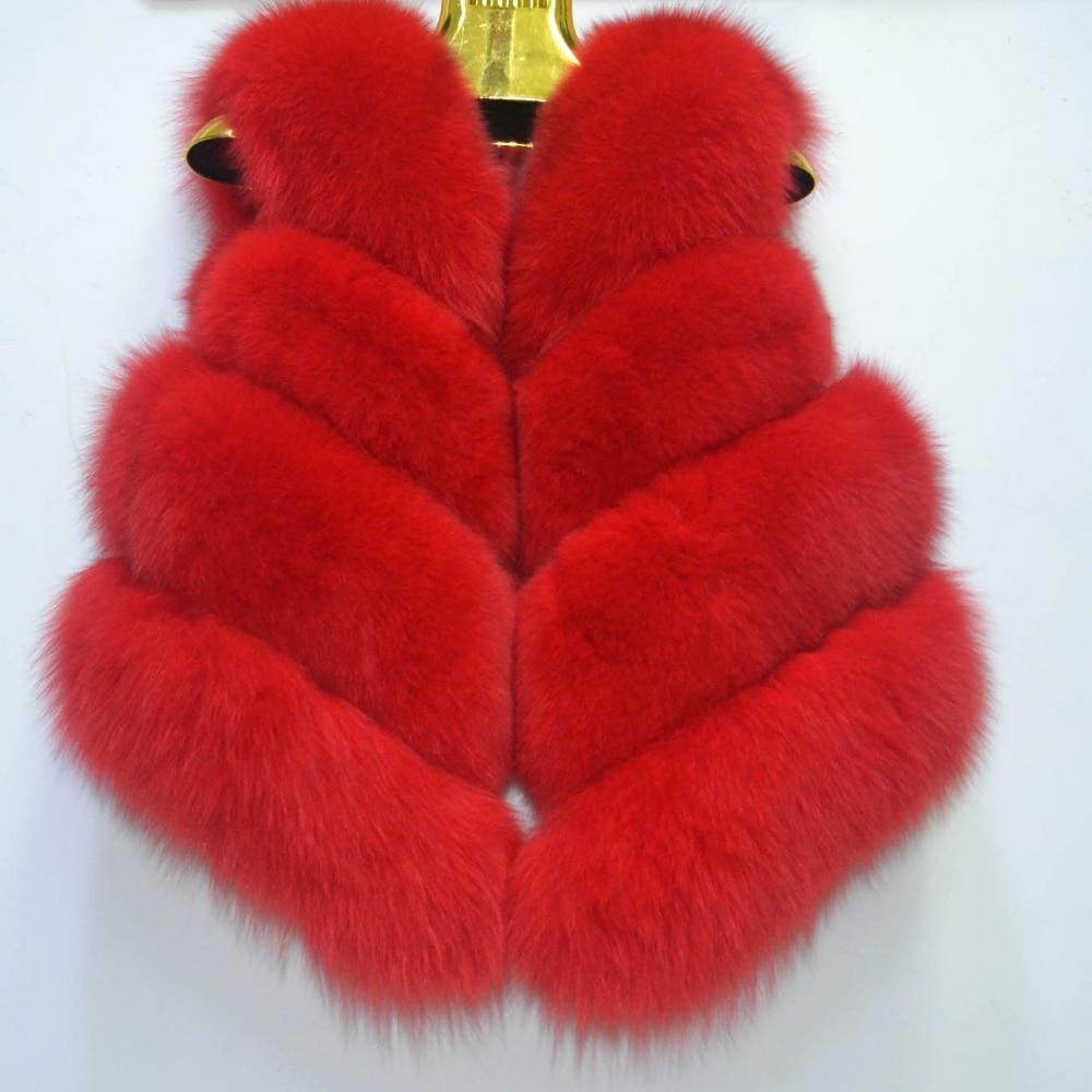 Horizontal kaki Fourrure Pur Mode Gilet Naturel De rouge marron blanc ardoisé Courte Renard En Veste Beige Cuir Femmes bourgogne pHqWSPy