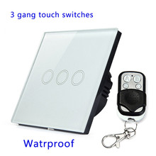 Remote control switch touch 3 Gang,waterproof crystal glass panel with metal remote.EU/UK standard