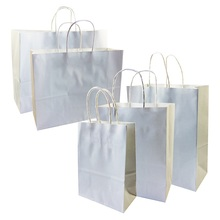 10 Pcs/lot DIY Simple White kraft paper gift bag With Handles 5 Size for Gifts Shops Clothes Shoes Bag Christmas Party