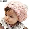 2016 Novos Do Bebê Chapéus de Inverno de Pele De Coelho Malha Pom Pom Chapéu Gorro boina Cap para a Menina Crianças Crochet Gorros de Lã Quente Hat Ear Warmer