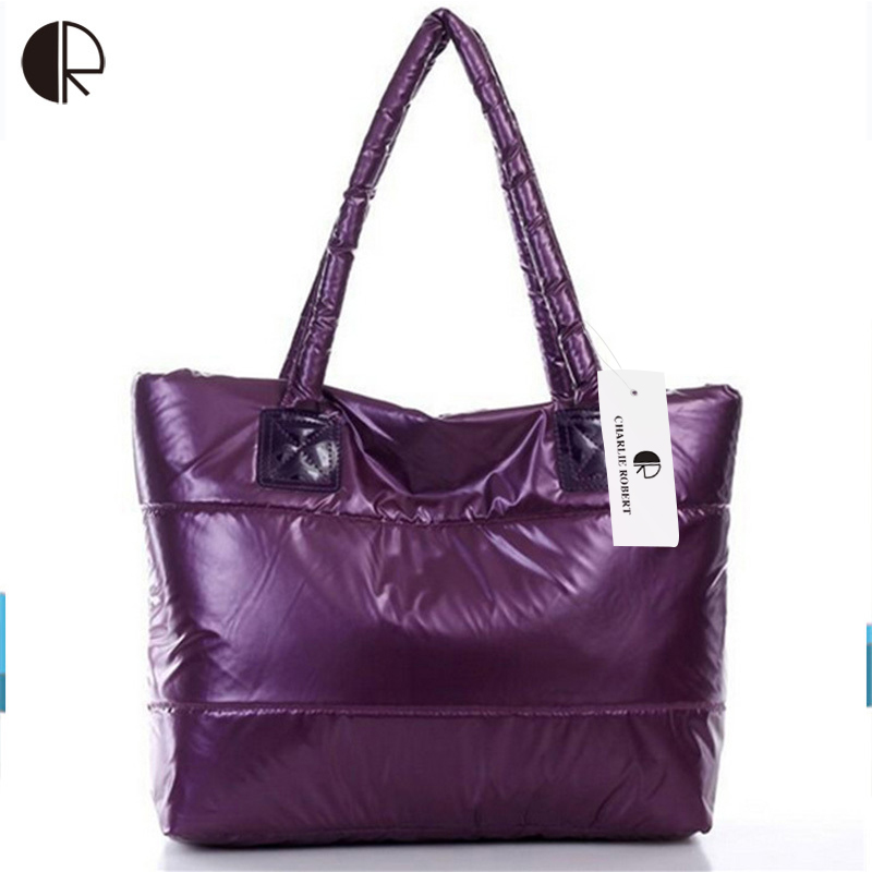 Hot Sale Women Fashion Colorful Light Feather Handbag High Quality Shoulder Bag Space Down Cotton-padded Tote  BS162 hot sale 2016 new fashion women girls winter warm wallet high quality tote bag card pack small hairy bag handbag