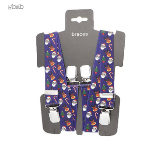 Image 4 - YBMB Christmas Gifts High Quality Fashion  2.5CM 4Clips Mens Suspenders X Shape Adjustable Durable  Elastic Belts Straps Braces