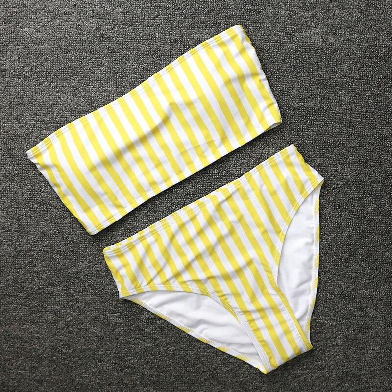 HTB1LcDhdv9TBuNjy0Fcq6zeiFXaE PLAVKY 2019 Retro Sexy Yellow Striped Strapless Bandeau Biquini Cut High Waist Swim Bathing Suit Swimsuit Swimwear Women Bikini