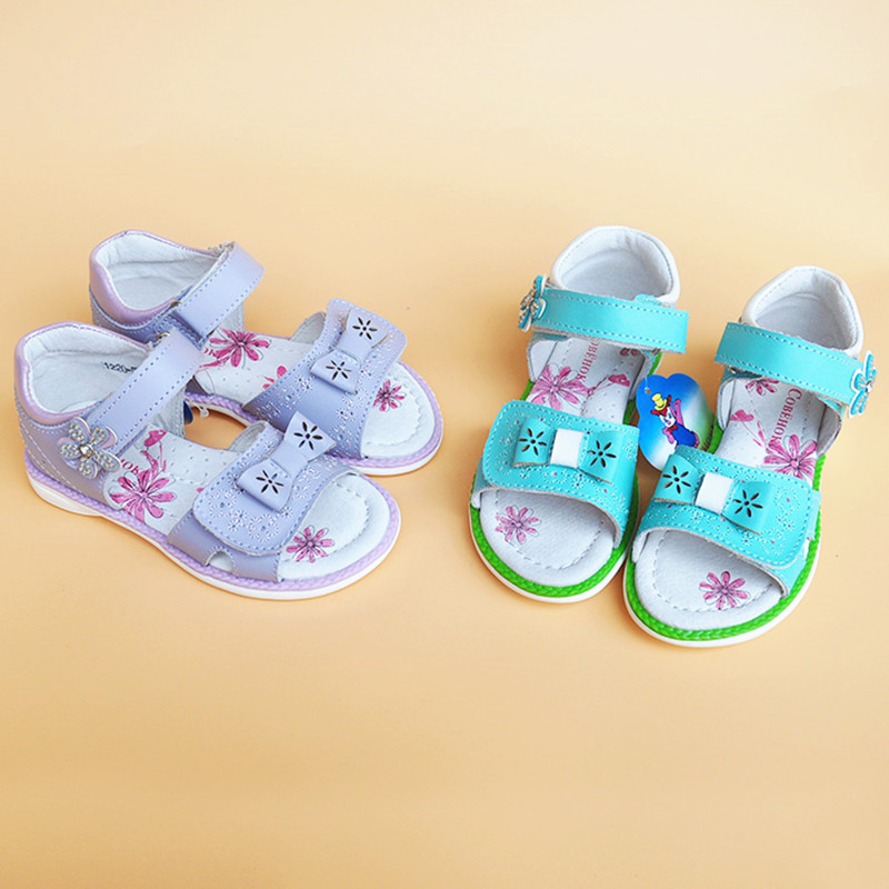 NEW 1pair Summer Leather Orthopedic girl Sandals Children Shoes+inner 16.5-19.7cm, Kids Soft Shoes