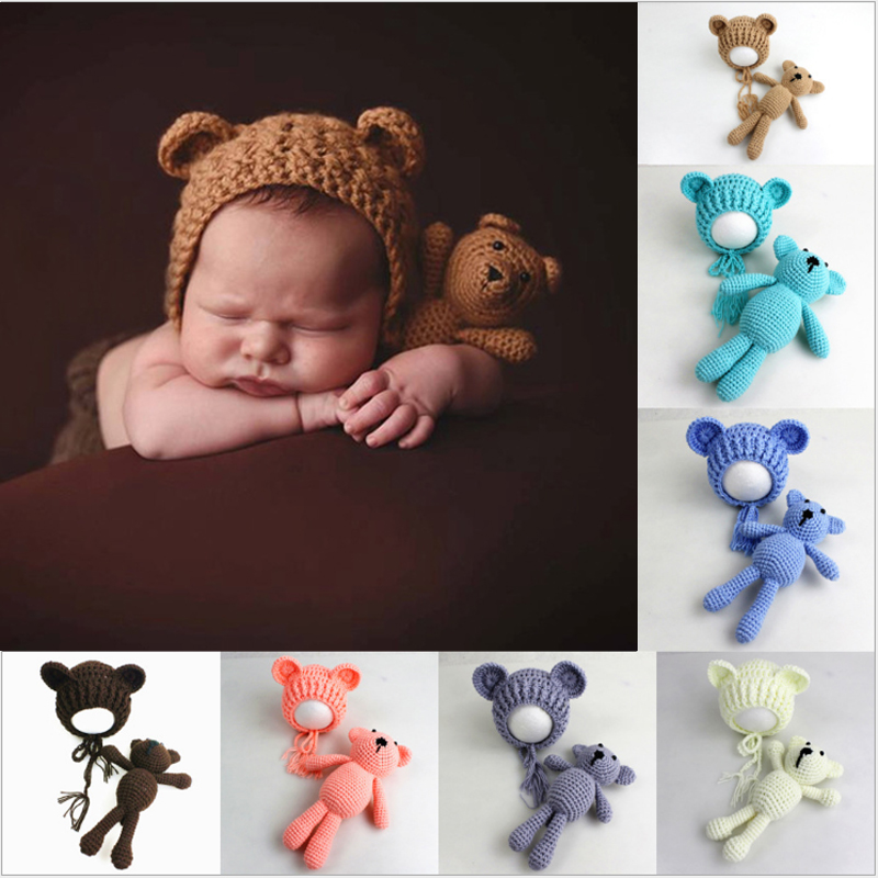 2018 Cute Colorful Knit Beanie Cap+Bear Toy Newborn Baby Toddler Infant Bear Photo Prop Photography Baby Knitted Cap Outfit Set