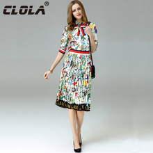 CLOLA Summer Women Dress Two Pieces Set 2017 Half Sleeve Print Pleated Black White Red Fashion High-end Boutique Ladies' Dresses