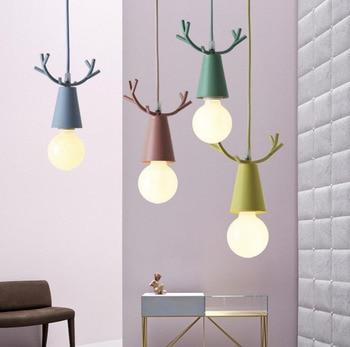 Nordic Minimalism Pendant Light Designer Creative Aluminum Lighting Colorful Fawn Art Lamp Children's Room lamp