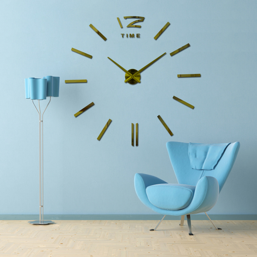 Ev Dekorasiya Divar Saatı Böyük Güzgü Divar Saatı Müasir Dizayn Böyük ölçülü Divar SaatlarıDIY Divar Etiketinə bənzərsiz bir hədiyyə