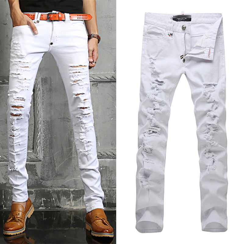 mens white stretch jeans