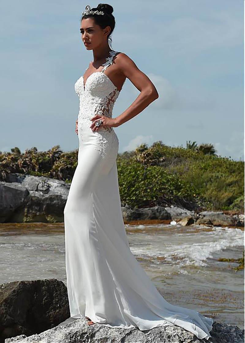LORIE Sexy Lace Straps Mermaid Beach Wedding Dress 2019 Appliqued Beads Chiffon Bride Dress Boho Wedding Gown Lace Train