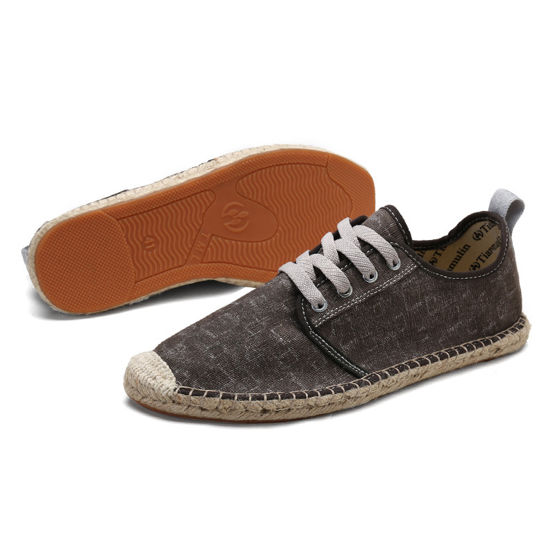 Cool yet breathable Canvas Espadrilles driving Shoes Men,Mint Green/Red Cotton Sneakers fashion flats male stripes shoes Youth