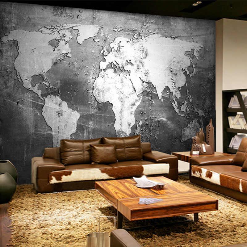 Tapety ścienne na zamówienie Retro Nostalgia mapa świata tapeta w rolce biuro salon Sofa tło tapety Papel De Parede 3D