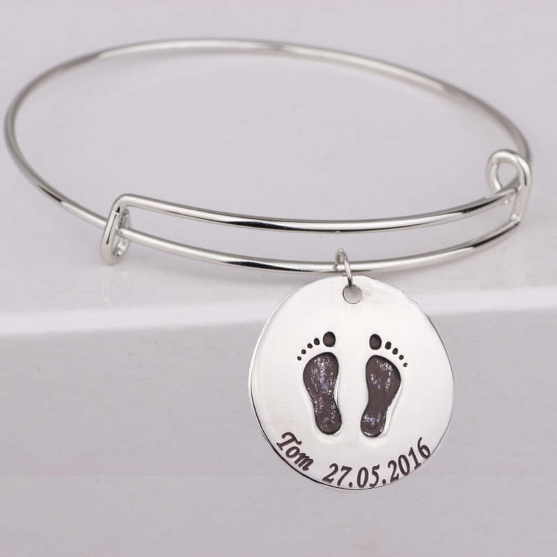 Baby Feet Bangles for Mom and Kids Customized Name & Date Can Custom Handmade Jewelry Accept Drop Shipping YP3068