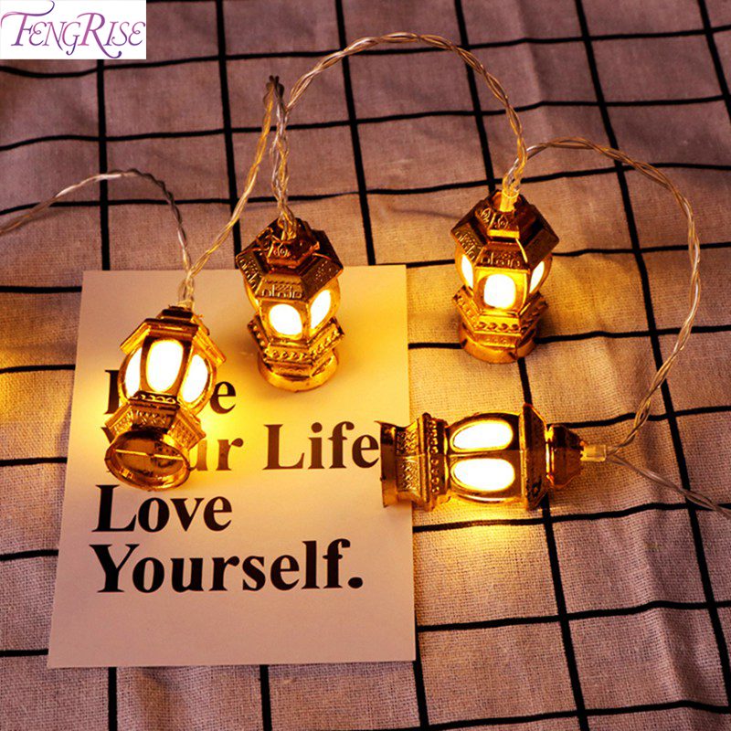FENGRISE 165CM EID Mubarak Led Light Strip Star Moon Led Lights Decoration Temple Muslim Islam String Light Holiday EID Al Adha in Party DIY Decorations from Home Garden