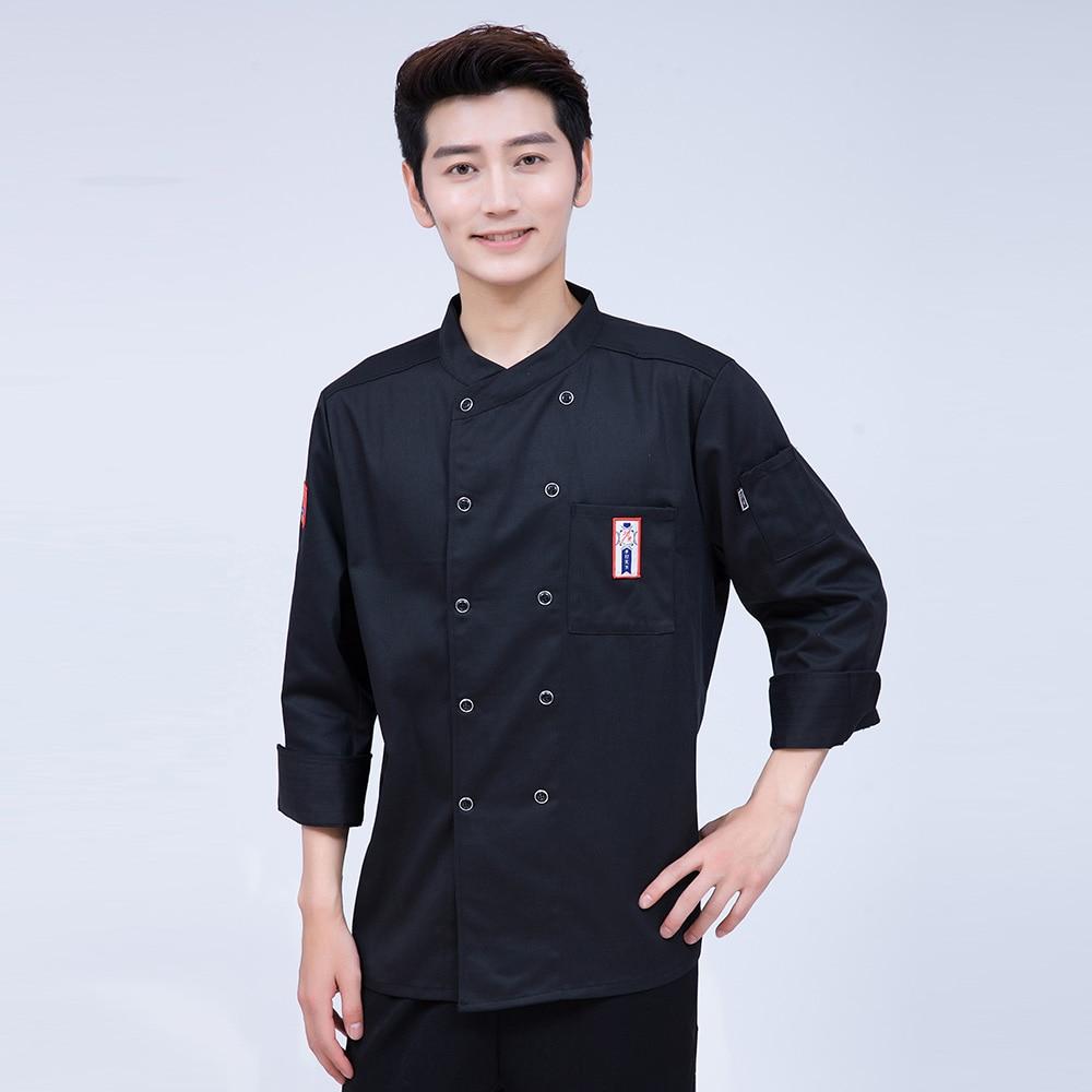 Autumn & Winter Kitchen 4-Cloor Chef Jacket Uniforms Long Sleeve Hotel Cook Clothes Food Services Frock Coats Work Wear Coat